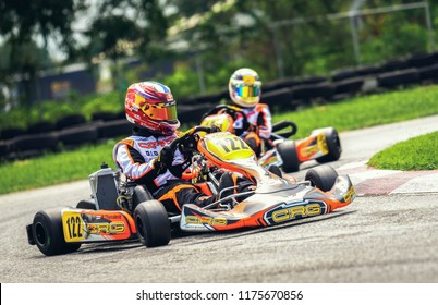 PATTATA,THAILAND-MAY 20: Go Kart  driving training and racing in provocative style. in bira circuit race pattaya on MAY 20,2018 IN THAILAND.