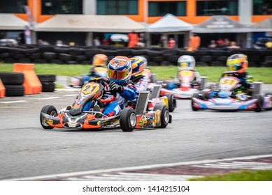 "PATTATA,THAILAND-MAY 26: Go Kart  driving training and racing in provocative style. in ""IAME Series Asia 2019"" bira circuit race pattaya on May 26,2019 IN THAILAND."