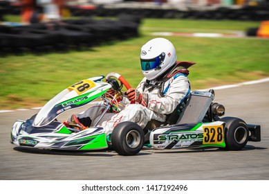 """PATTATA,THAILAND-MAY 26: Go Kart  driving training and racing in provocative style. in """"IAME Series Asia 2019"""" bira circuit race pattaya on May 26,2019 IN THAILAND."""
