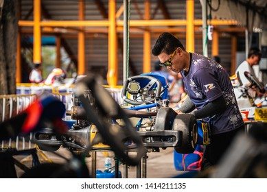 "PATTATA,THAILAND-MAY 26: The technician team is preparing the Go Kart car to compete for the racetrack. in ""IAME Series Asia 2019"" bira circuit race pattaya on May 26,2019 IN THAILAND."