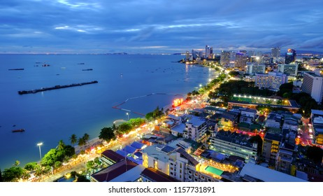 Pattaya beach bay night shot top view twilight time