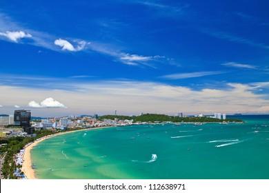 Pattaya beach and city  bird eye view, Chonburi, Thailand