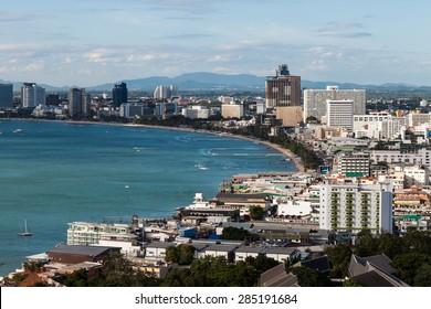Pattaya beach and city ,bird eye view