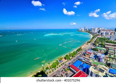 Pattaya Beach and city bird's eye view, Chonburi, Thailand