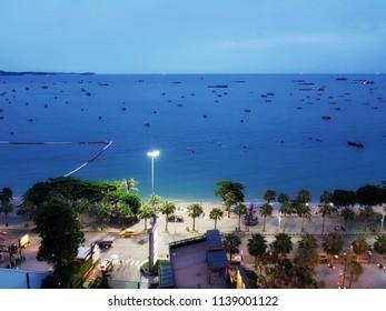 The Pattaya beach at evening