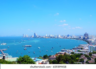 Pattaya Beach on the top view from the hill