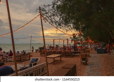 pattaya beach Thailand  17 aug 2018 : in pattaya beach with beautiful view and sunset by food zone