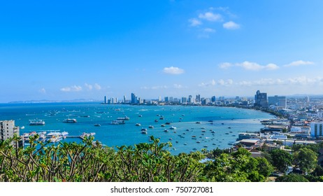 Pattaya Beach - Viewpoint offering panoramic views at hilltop scenic lookout point, popular at sunset, featuring sweeping views of the city and bay in Pattaya city Thailand.