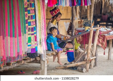 Pattaya, Chonburi Province / Thailand - 01.17.2018: Karen people in traditional village -  Moo Baan Chon Pao.  Women with neck rings.