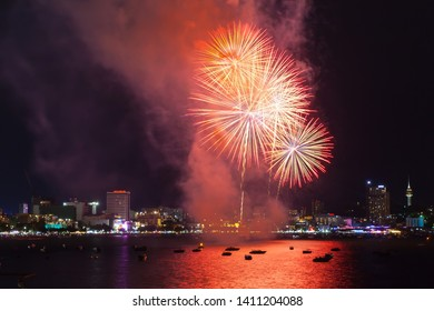 Pattaya, Chonburi / Thailand: May 24 2019: Amazing and Magnificent International firwork at Pattaya Bay is famous in the city, Wonderful festival night and tropical paradise for tourist