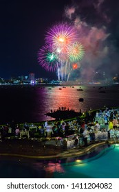 Pattaya, Chonburi / Thailand: May 25 2019: Amazing and Magnificent International firwork at Pattaya Bay is famous in the city, Wonderful festival night and Dinner tropical paradise for tourist
