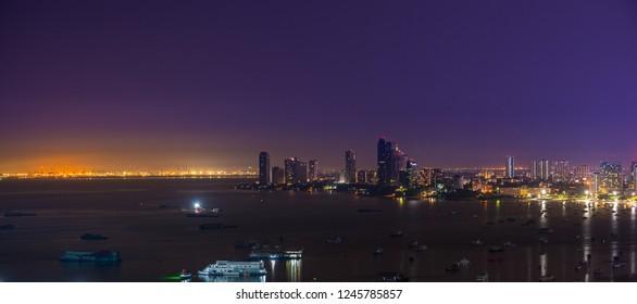 Pattaya City and beach at night view from Pratumnak Hill overlook