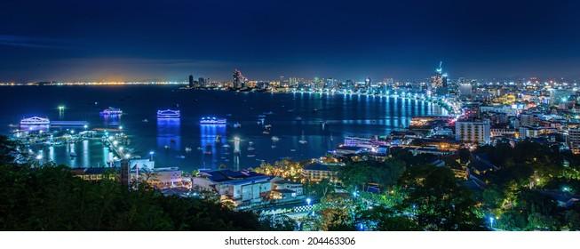 Pattaya City beach and Sea in urban night, Thailand