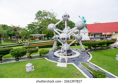 PATTAYA CITY, CHONBURI PROVINCE, THAILAND. – On March 31, 2018 - The Atomium is a landmark building in Brussels at miniature park is an open space that displays miniature buildings and models.