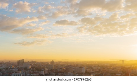 The Pattaya city in the morning with golden light. The morning sun of Pattaya city.