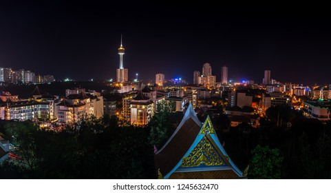 Pattaya City Thailand Panorama at night from the top of the Hill