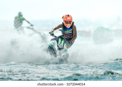 PATTAYA CITY THAILAND-DECEMBER 8:Kasidit Terraprateep of Thailand in action during moto2 class Pro Ski Open the Jetski King's Cup World Cup Grand Prix at Jomtien Beach on Dec8, 2017 in,Thailand.