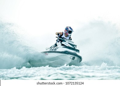 PATTAYA CITY THAILAND-DECEMBER 8:Kim Min Sung of Korea in action during Expert Veterans Runabout Limited the Jetski King's Cup World Cup Grand Prix at Jomtien Beach on Dec8, 2017 in,Thailand.