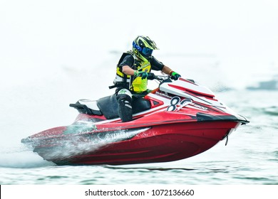 PATTAYA CITY THAILAND-DECEMBER 8:Nungskol Thanettrakoo of Thail in action during Expert Veterans Runabout Limited the Jetski King's Cup World Cup Grand Prix at Jomtien Beach on Dec8, 2017 in,Thailand.