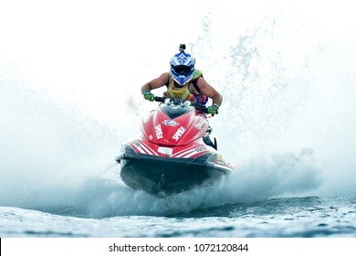 PATTAYA CITY THAILAND-DECEMBER 8:Pancho Marjak of Finland in action during Expert Veterans Runabout Limited the Jetski King's Cup World Cup Grand Prix at Jomtien Beach on Dec8, 2017 in,Thailand.