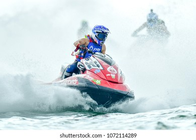 PATTAYA CITY THAILAND-DECEMBER 8:Thaweepol Sukkasame of Thail in action during Expert Veterans Runabout Limited the Jetski King's Cup World Cup Grand Prix at Jomtien Beach on Dec8, 2017 in,Thailand.