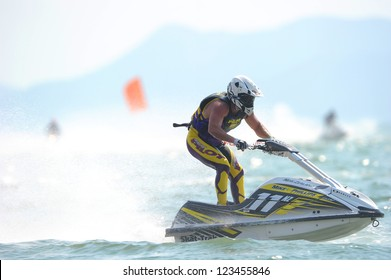 PATTAYA CITY THAILAND-DECEMBER 8:Trent Brown of Newzealand in action during moto2 class Pro Ski Open the Jetski  King's Cup World Cup Grand Prix at Jomtien Beach on Dec8, 2012 in,Thailand.