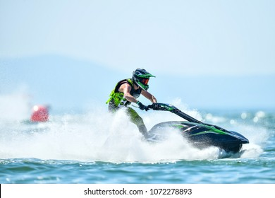 PATTAYA CITY THAILAND-DECEMBER 9:Botti Jean Baptiste of France in action during Pro Ski GP the Jetski King's Cup World Cup Grand Prix at Jomtien Beach on Dec9, 2017 in,Thailand.
