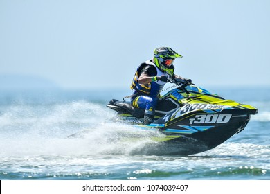 PATTAYA CITY THAILAND-DECEMBER 9:Chaowalit Kuajaroon of Thailand in action during Pro Runabout 1100 Superstock the Jetski King's Cup World Cup Grand Prix at Jomtien Beach on Dec9, 2017 in,Thailand.