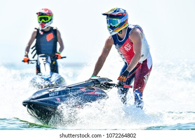 PATTAYA CITY THAILAND-DECEMBER 9:Jeremy Poret of France in action during Pro Ski GP the Jetski King's Cup World Cup Grand Prix at Jomtien Beach on Dec9, 2017 in,Thailand.