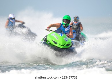PATTAYA CITY THAILAND-DECEMBER8:Henri Vainio of Finland in action during  class Pro-Am Runabout 4stroke stock the Jetski  King's Cup World Cup Grand Prix at Jomtien Beach on Dec8,2012 in,Thailand.