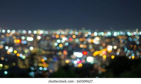 Pattaya cityscape at twilight time, Blurred Photo bokeh