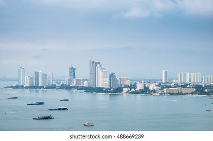 Pattaya sea viewpoint with skyscraper in gulf of thailand