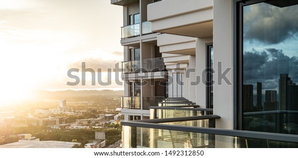 pattaya sun rise top view city with modern hotel balcony. background for thailand travel and relaxation