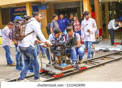 Pattaya, Thailand - 01.18.2018: operators shoot Indian cinema near the temple of the Great Buddha