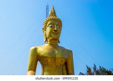 Pattaya , Thailand - 13 March 2017 : Religion In Thailand. Golden Statue Of Buddha in Wat Phra Yai, The Big Buddha Temple At Pattaya. Meditation. Buddhism, Travel, Tourism.