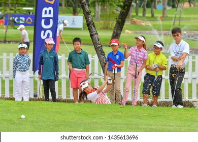 Pattaya, Thailand 19 Jun 2019  Junior Golf Clinic with pro golf  in Ladies European Thailand Championship 2109 which will be held from 20-23 June 2019 at Phoenix Gold Golf & Country Club