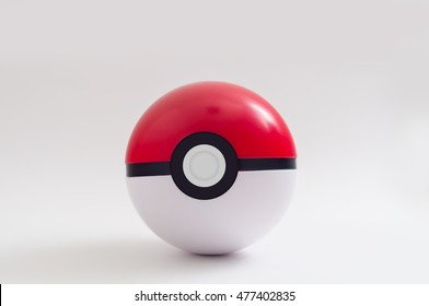 PATTAYA, THAILAND - 2 SEP 2016: Studio shot of The Pokeball on light background on 2 September 2016 at Pattaya, Thailand. Pokeball is equipment to catch Pokemons in a mobile game Pokemon Go.