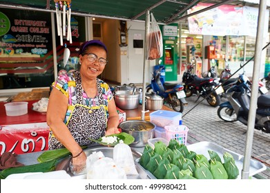 PATTAYA, THAILAND - 20 FEB, 2016: street food stall in Pattaya. Street food is ready-to-eat food or drink sold by a hawker, or vendor, in a street or other public place, such as at a market or fair.