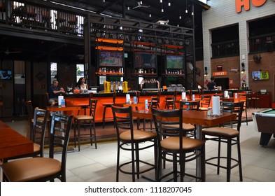 PATTAYA, THAILAND- 20 JUN, 2018: View of internal Hooters restaurant in Pattaya Thailand