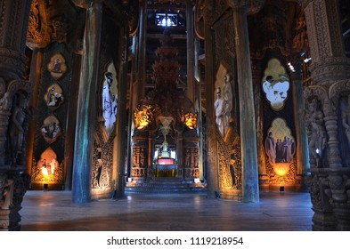 PATTAYA, THAILAND- 20 JUN, 2018: View of Sanctuary of Truth in Pattaya, Thailand. The sanctuary is an all-wood building filled with sculptures.