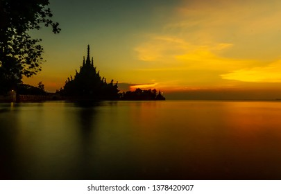 PATTAYA, THAILAND, 21st APRIL 2019 - photos of the Sanctuary of Truth taken from Naklua beach side. The sanctuary is an all-wood building filled with sculptures based on traditional Buddhist and Hindu