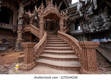 PATTAYA, THAILAND - 26 AUG 2018 : Beautiful scenery at Sanctuary of Truth. The Sanctuary of Truth Museum is a gigantic all wood construction located at the Rachvate Naklua Pattaya Thailand.