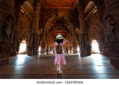 Pattaya, Thailand 29-Dec-2018 Tourist is sightseeing in Sanctuary of truth in Pattaya, Thailand.