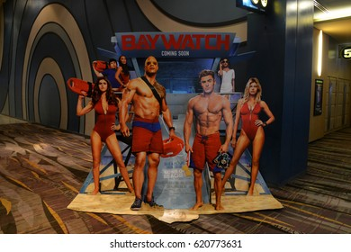 Pattaya, Thailand - 9 April 2017 - Beautiful Standee of Movie Baywatch at the theater