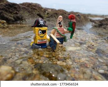 Pattaya, Thailand - 9 July 2020: Lego Spongbob the pirate mini figure looking for the treasure