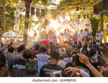 Pattaya, THAILAND - April 19,2017 - Foreign tourists and Thai people enjoy splashing water on Walking Street Pattaya in Songkran festival (Wan Lhai)