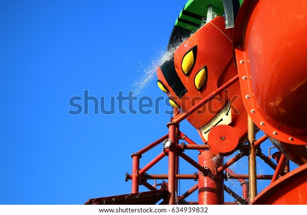 PATTAYA, THAILAND - APRIL 30, 2017: Cartoon Network Amazone, World's First Cartoon Network water park. Water Park created from cartoon characters on Cartoon Network channel. And Big water tank.