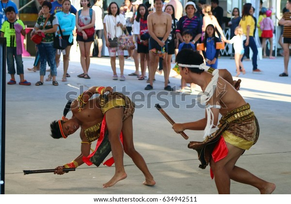PATTAYA, THAILAND - APRIL 30, 2017: Cartoon Network Amazone, World's First Cartoon Network water park. And Thai traditional fighting show.
