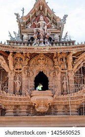 PATTAYA, THAILAND- April 30, 2019: Sanctuary of Truth or Prasat Sajja Tham is religious sanctuary under construction, its all-wood building filled with traditional sculptures.