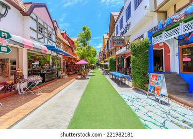 """PATTAYA, THAILAND - AUG 10: Landscpae of Mimosa on Aug 10, 2014 in Pattaya. It was established for tourist attraction under the concept of """"The City of Love"""" through arts and architecture decorated."""